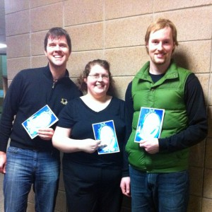 Nick Rosencrans, Sherri Brigden and Adam Gardner volunteering for the Crow River Area Youth Orchestra in Hutchinson, Minnesota